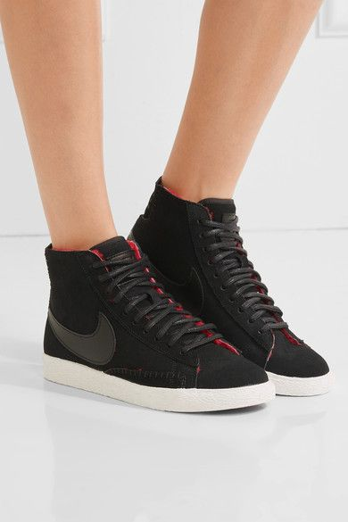 White rubber sole measures approximately 25mm/ 1 inch Black suede, red shearling Lace-up front Nike follows its own size conversion, therefore the size stated on the box will differ from the one provided in our conversion chart. To receive your correct fit, please refer to Size & Fit notes