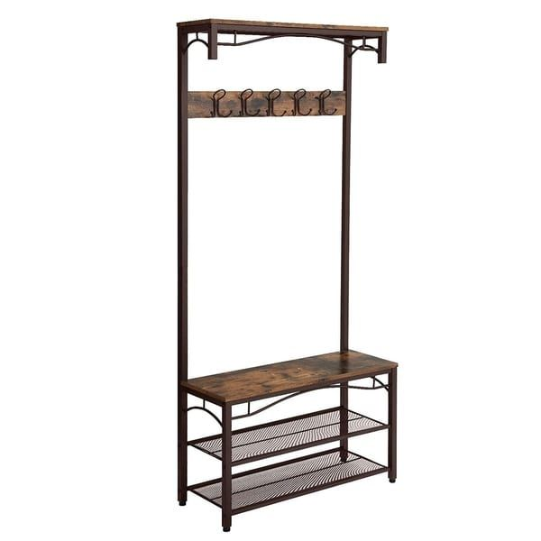 Metal Framed Coat Rack With Wooden Bench And Two Mesh Shelves Brown And Black In 2020 With Images Hallway Shoe Storage Bench Hallway Shoe Storage Vintage Coat Rack