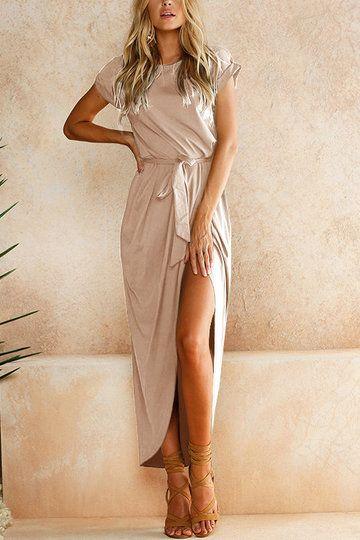 Pink Short Sleeves Splited Hem Maxi Dress US$21.95