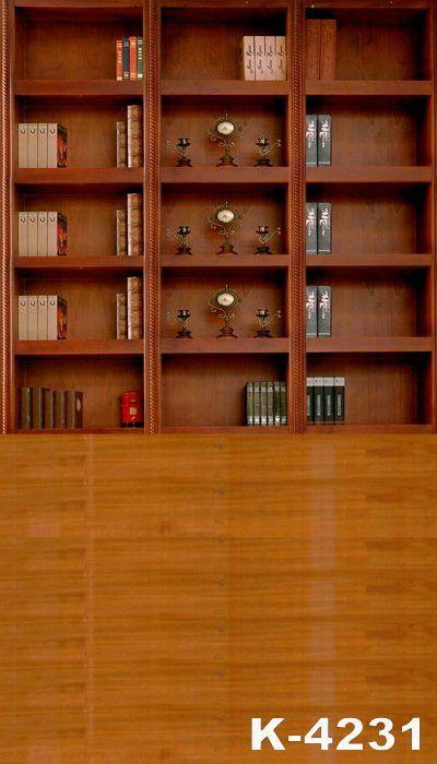 Fotografie Achtergronden Fundo Fotografico Vinil Fabric Backdrops 220Cm * 150Cm Wood Floor Three Bookcases