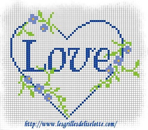 Grille point de croix offerte, coeurs fleurs bleues - Les grilles de Liselotte