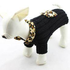 Sveter pre psov - pletený čierny leopard, XL