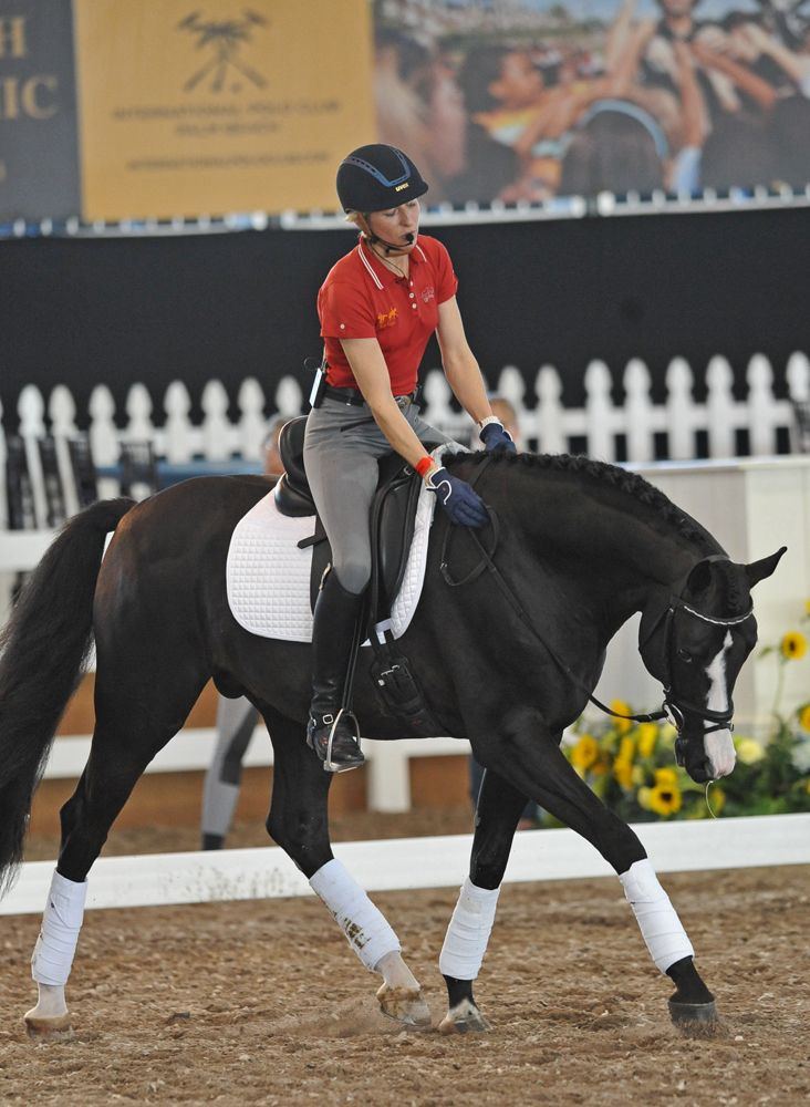 Ingrid Klimke demonstrated stretching aboard Doctor Wendell MF on Day 2 of the Global Dressage Forum North America.
