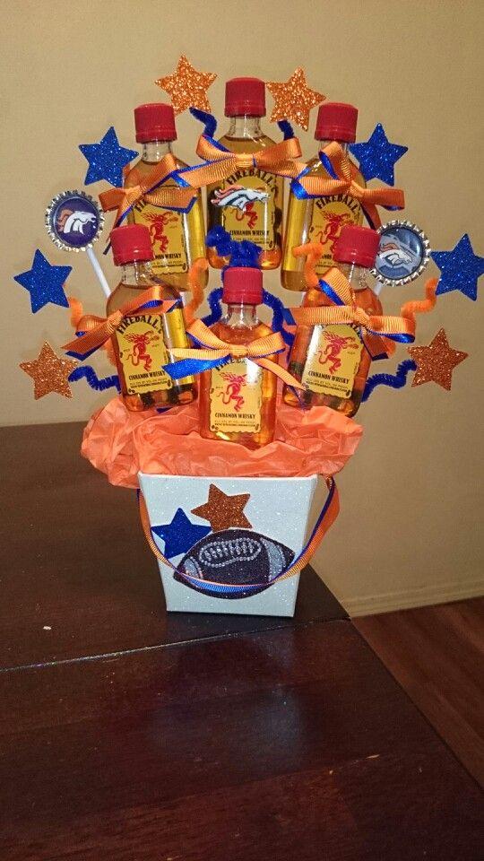 Denver Broncos Alcohol Bouquet Shots Orange Blue Stars Fireball | Unique Alcohol Candy Bouquets | Booze bouquet, Alcohol bouquet, Liquor bouquet