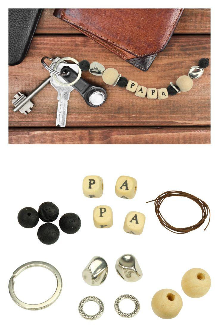 9da4020250fc9 Porte-clés PAPA en perles de lave - Kit pour 1 porte-clés - Porte ...