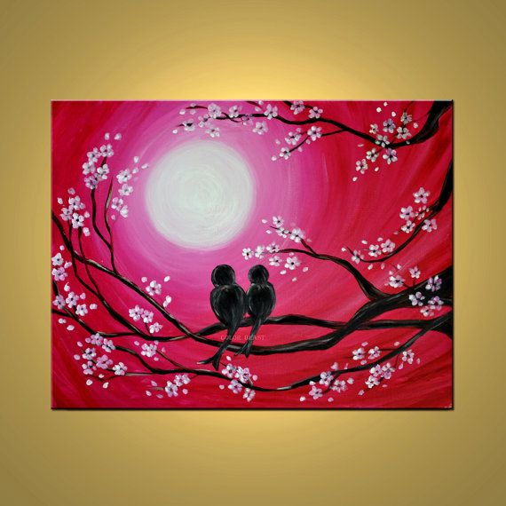 Love Birds in moonlight silhouette Painting in by colorblast