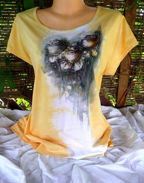 Malované triko, žluté růže