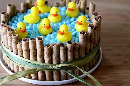 Ducks Taking A Swim Cake from blog: A Cup of Sugar... A Pinch of Salt. So Adorable and SUPER EASY!