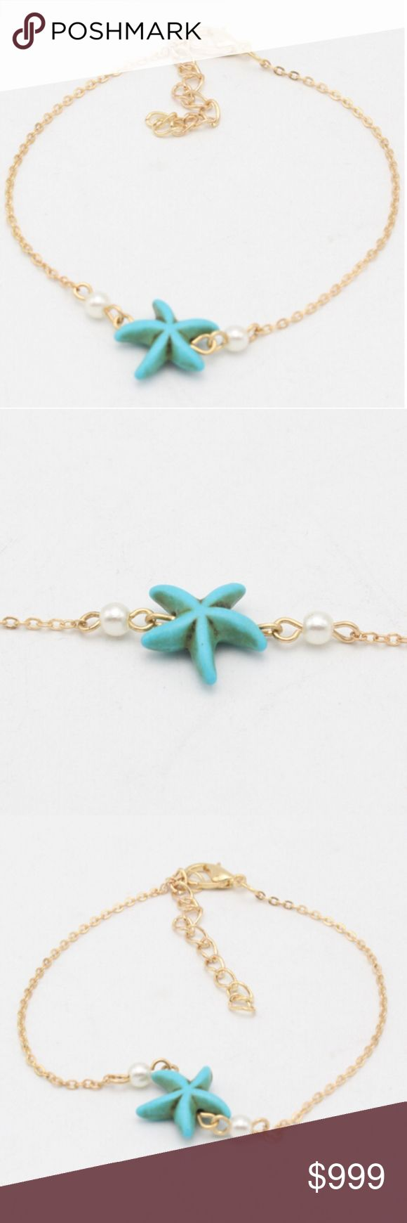 """COMING SOON!! """"Like"""" To Be Notified!! COMING SOON!! """"Like"""" To Be Notified!!   Brand new in original packaging. Rustic turquoise blue-green starfish stone pendant next to two white pearls on a gold link chain (20-30cm) + extender for adjustable length to wear as both a bracelet & anklet for boho beach vibes!  Made of gold metal alloy, stone & faux pearl.  Nickel & lead free. All sales are final, please ask all questions prior to purchasing! Jewelry Bracelets"""