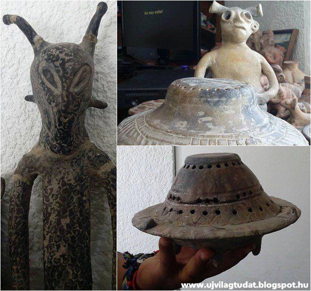 Idegen kinézető lények és űrhajók kerámia szobrai kerültek elő Mexikó Nochistlán nevű városában Zacatecas államban, melyek állítólag egy m...