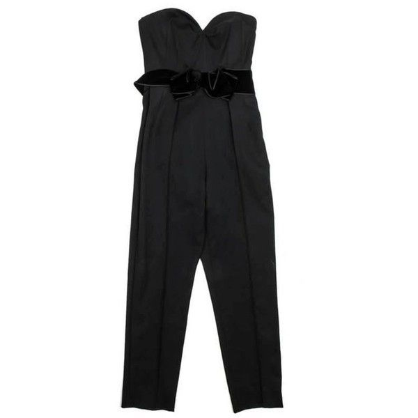 Preowned Yves Saint Laurent Bustier Jumpsuit In Black Wool Size 38eu (2,205 CAD) ❤ liked on Polyvore featuring jumpsuits, black, special occasion jumpsuits, wool jumpsuit, cocktail jumpsuit, yves saint laurent jumpsuit and evening jumpsuits