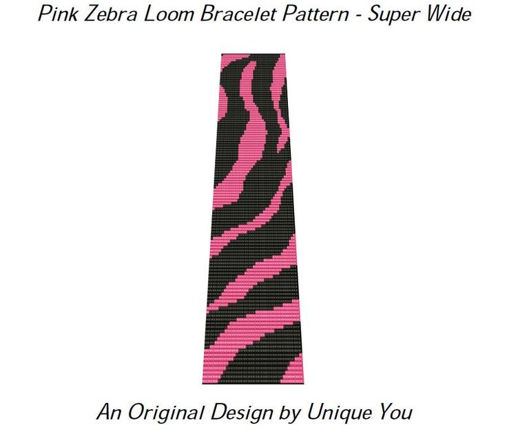 Beading Pattern Loom Bracelet Square Stitch Pink Zebra Animal Print Super Wide Cuff - PDF - (Sale - Buy 2 Patterns, Get 3rd at NO COST)