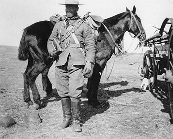 Trooper, Strathcona's Horse in South Africa. This image strikingly shows why Strathcona's Horse, perhaps more than any other unit in South Africa, became identified with the popular image of the Canadian cowboy.