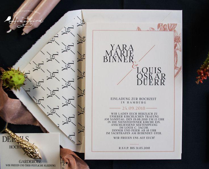 Hochzeitseinladung Design Chelsea  (mit oder auch ohne Blumen)
