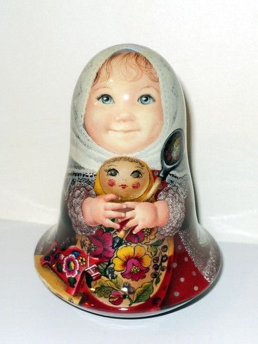 1 of Kind Painting Art Roly Poly Russian Girl Valyusha Matryoshka Nesting Doll | eBay