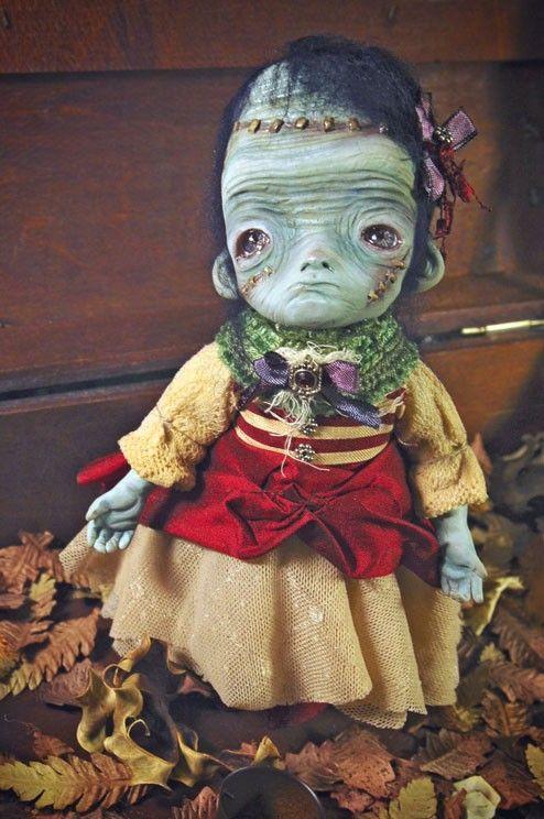 The little Frankristine  - art doll ooak  monster girl halloween