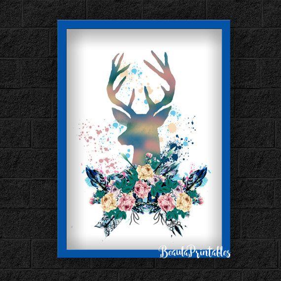 Deer Print  Stag Print  Antler  Woodland  by BeaulaPrintables