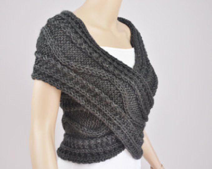 Hand gebreide vest, trui Cross, Capelet, halswarmer in houtskool / donker grijs-klaar om te verzenden