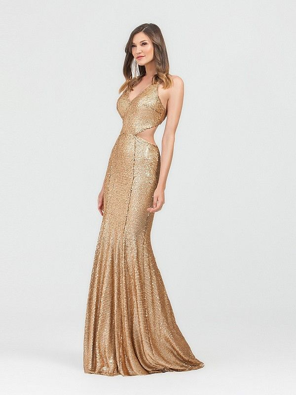 4a1bd3892924 Val Stefani 3489RE is a gold paillette sequin mermaid gown with a v-neckline  and side cutouts. This floor length gown is both sexy and sleek with it's  form ...