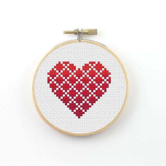 Geometric heart cross stitch pattern geometric heart por ringcat
