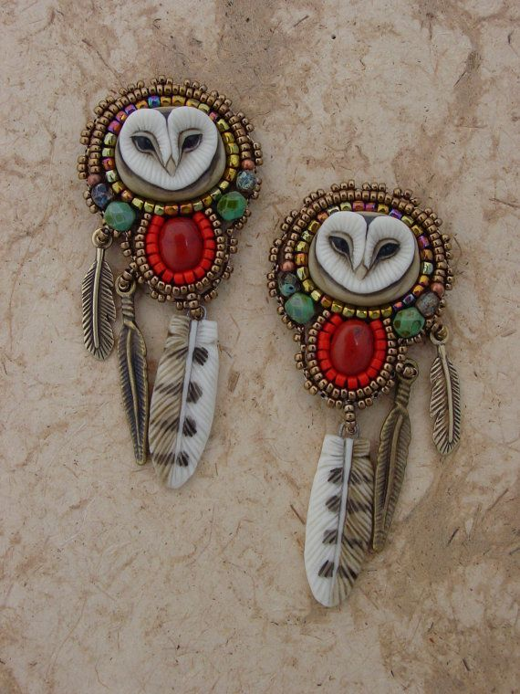 This bead embroidery kit had everything you need to make these sweet lil hoot post earrings. The porcelain owl face and feather are by Etsy