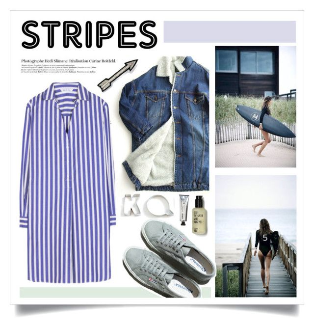 Striped shirt by kelly-m-o on Polyvore featuring polyvore, fashion, style, Loro Piana, ssongbyssong, L:A Bruket, Ann Clark, Hedi Slimane, Chanel, Garance Doré and clothing
