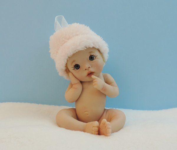 Polymer clay baby art doll ooak by ursula how cute is this baby