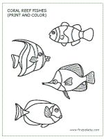 Coral Reef Fishes Template, available in color as well. I