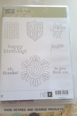 SO-VERY-HAPPY-Stampin-039-Up-Clearmount-Rubber-Stamps-Retired-Rare