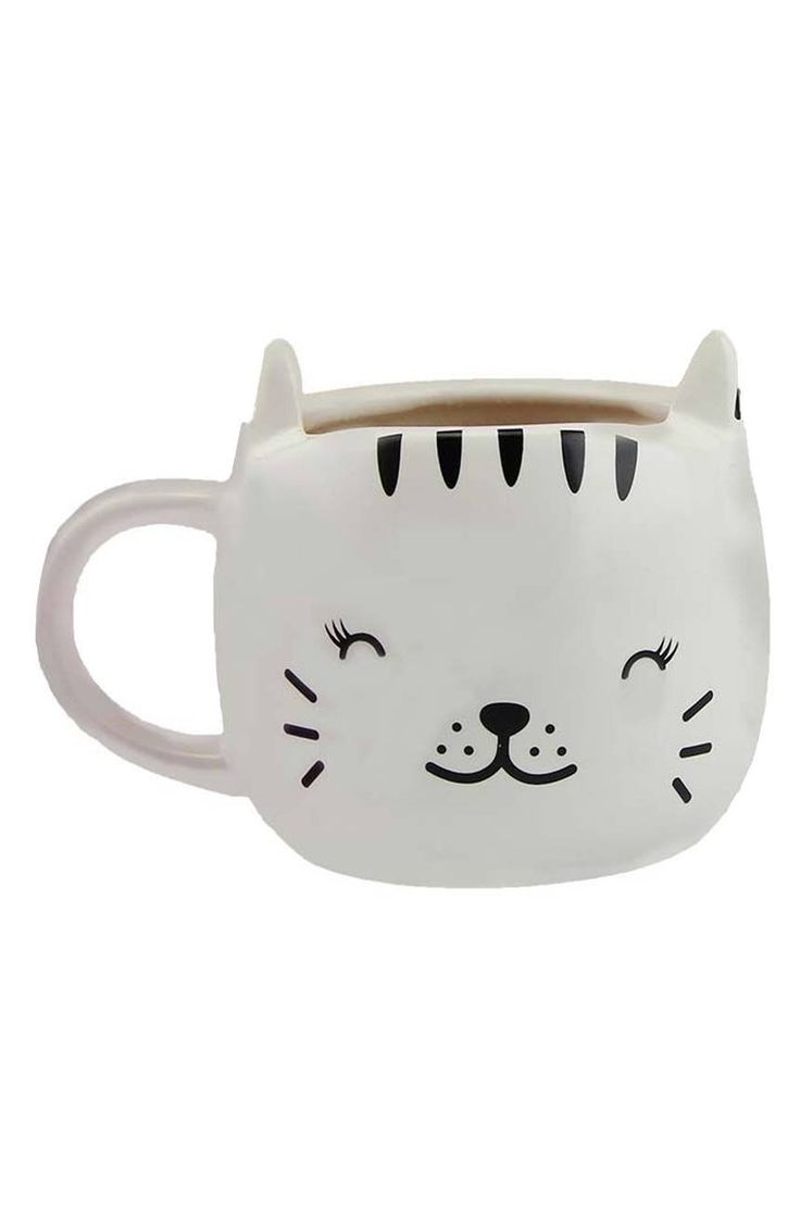 The sweet kitty painted on this cute mug seems to close her eyes in happiness when you add a warm beverage.