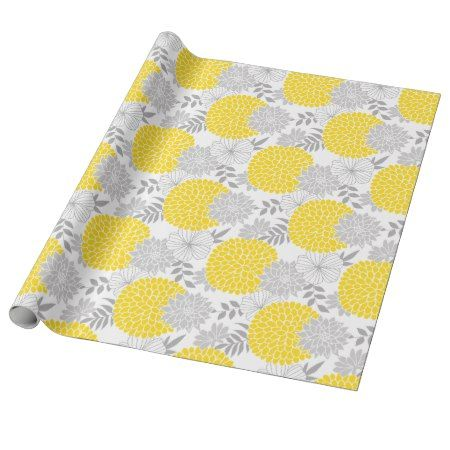 Chic Yellow and Gray Floral Pattern Wrapping Paper - click/tap to personalize and buy #pattern #patterns #illustrations #illustration #giftwrap #giftwrapping