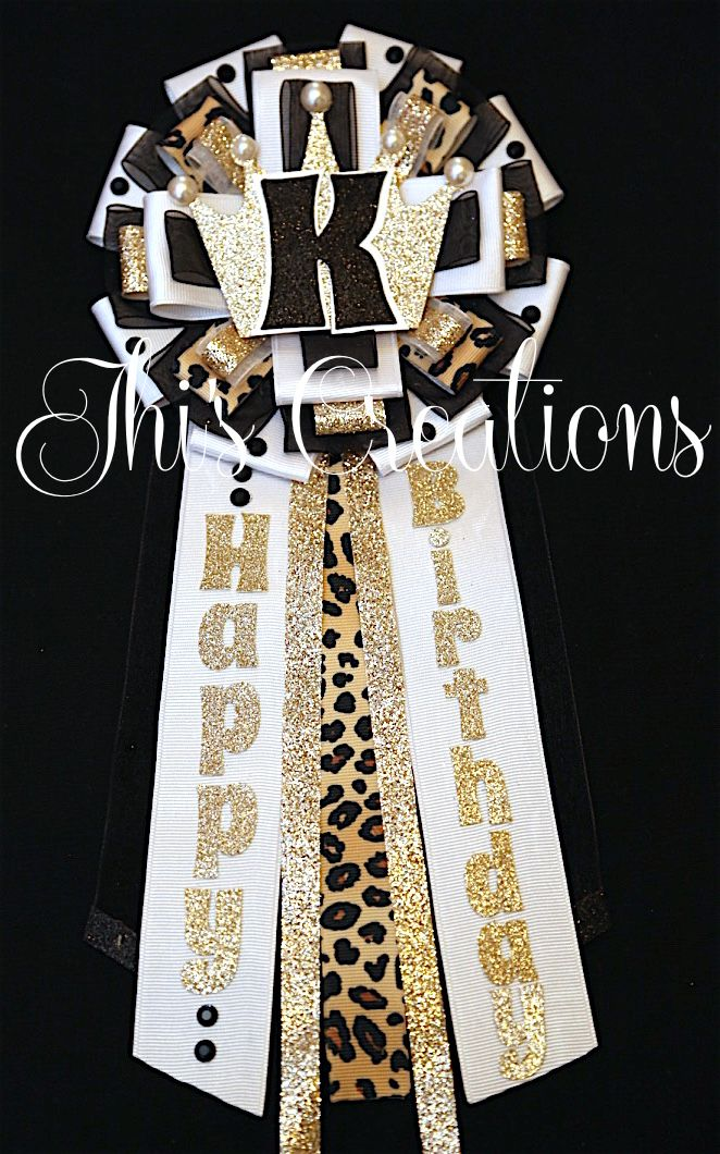 Kieva's birthday pin/mum/corsage in white, black, champagne, and cheetah... #JhisCreations
