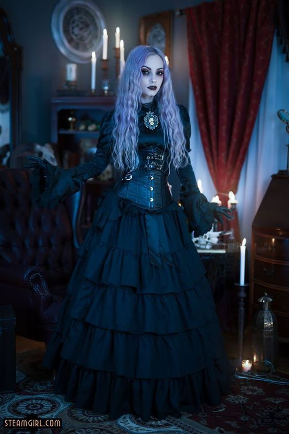 Elegant Steamgoth (gothic victorian satin blouse, ruffle tier skirt, corset, gloves, cameo brooch, lavender purple hair, dark makeup) - For costume tutorials, clothing guide, fashion inspiration photo gallery, calendar of Steampunk events,