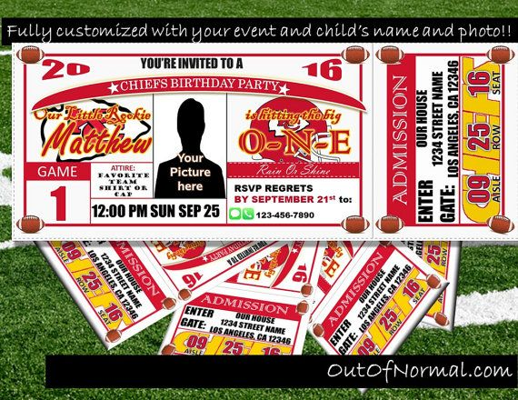 Kansas City Chiefs Themed Birthday Invitation by OutOfNormal