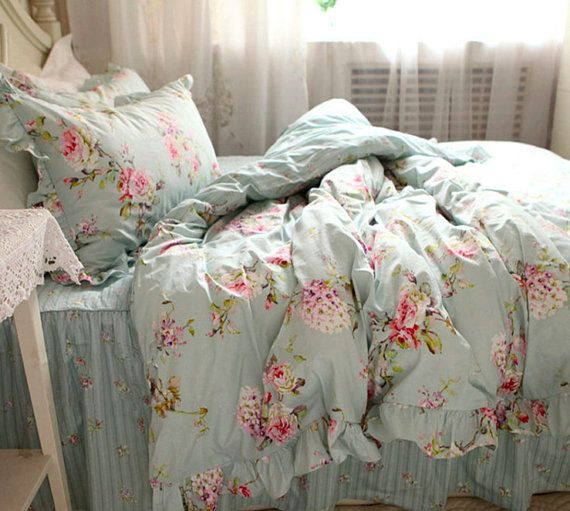 20 Off Floral European Flower Blue Shabby Chic Bedding Set Rustic