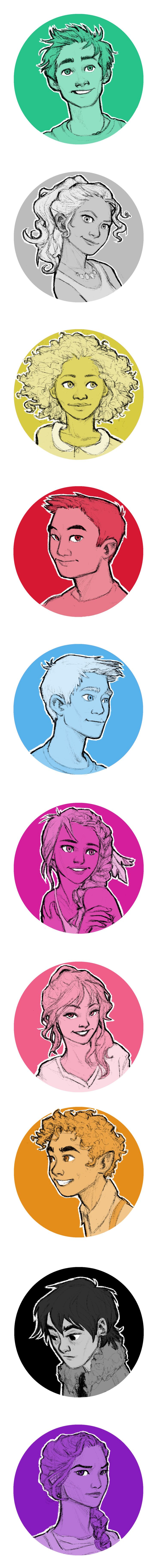 Hey guys I made some avatars of the PJO characters! Inspired by