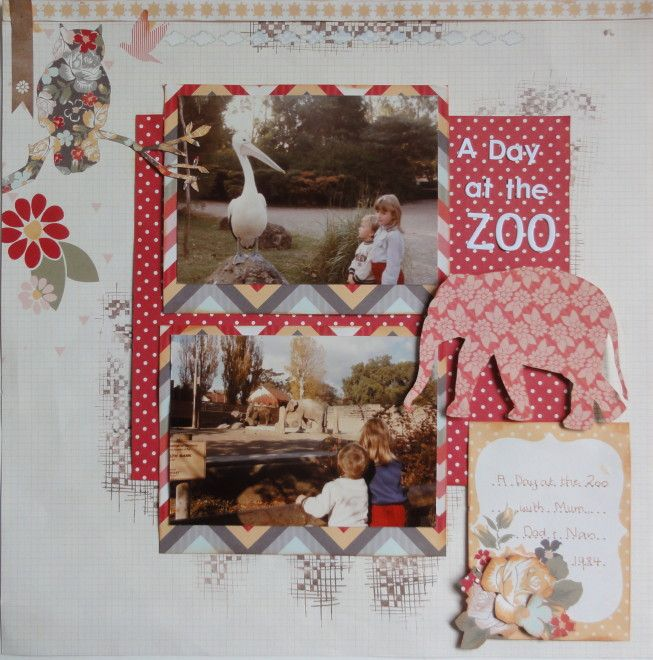 A day at the zoo LO.  Kaisercraft Sweet Pea collection.