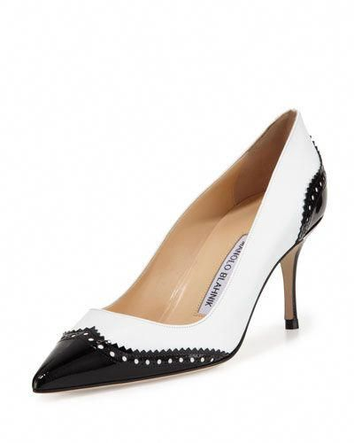 fad6857917 X2GJW Manolo Blahnik Ancor Leather Wing-Tip Spectator Pump, Black/White # ManoloBlahnik