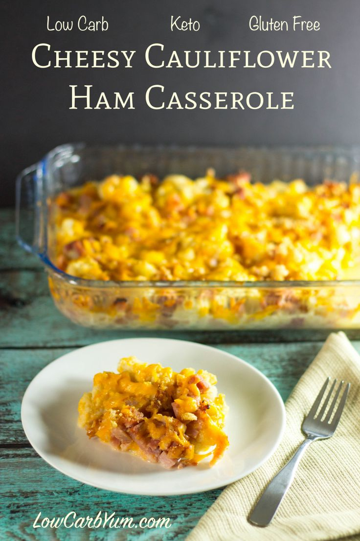 low carb cheesy cauliflower ham casserole recipe TJW - this is super easy, I don't use pork rinds