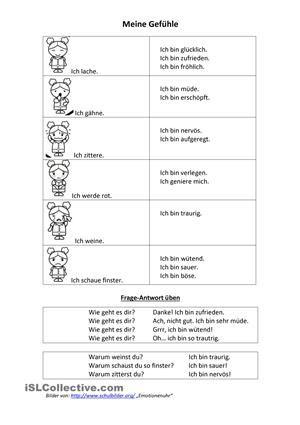 Kurze Sätze zur Gefühlswelt mit Bildern von der Emotionsuhr auf http://www.schulbilder.org/malvorlage-emotionenuhr-i24015.html ... Gedacht als Einleitung zum Basteln der Uhr. - DaF Arbeitsblätter