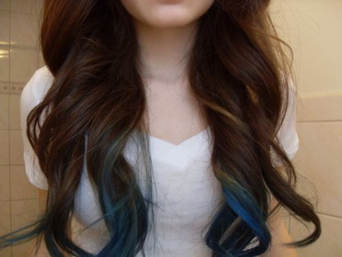 dyed tips: Hair Colors, Dark Hair, Dips Dyes, Ombre Hair, Long Hair, Blue Hair, Blue Tips, Brown Hair, Dips Dyed Hair