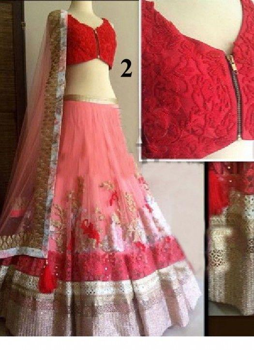 New Light Pink & Red Net Thredwork Lehenga Choli