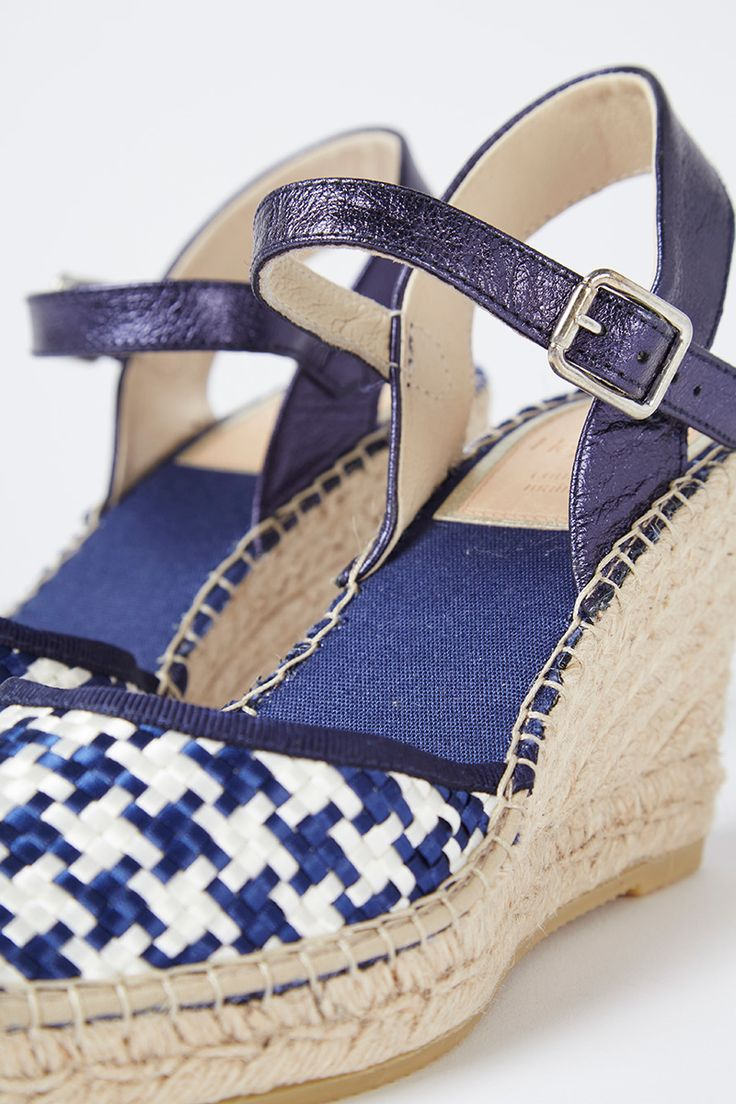 Venta Heyraud / 35446 / Sandalias / Sandalias de piel de cuña Azul marino y crudo