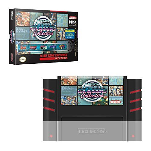 """Retro-Bit Data East Classic Collection SNES Cartridge - Super NES Games included: Fighter's history, Fighter's history mizoguchi, magical drop, magical drop 2, and Super side pocket Includes two exclusive 1"""" pins with Fighter's history and magical drop artwork Includes two original stickers with magical drop and Super side pocket artwork https://automotive.boutiquecloset.com/product/retro-bit-data-east-classic-collection-snes-cartridge-super-nes/"""