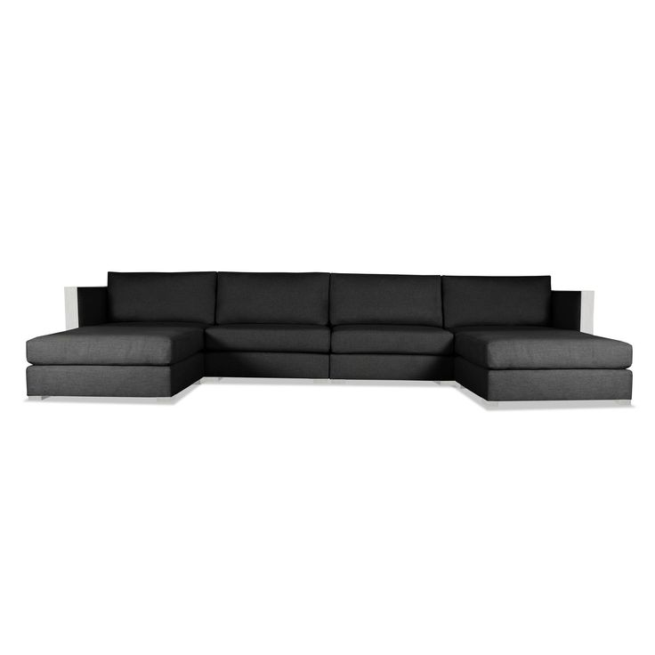 South Cone Home Greenwhich Modular U-Shape Double Chase Sectional (Charcoal) Black  sc 1 st  Pinterest : black white sectional - Sectionals, Sofas & Couches