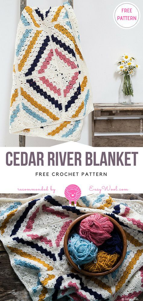 Cedar River Blanket Free Crochet Pattern | Pinterest | Manta