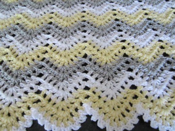 gender neutral, chevron, ripple, baby, crochet blanket, afghan crochet, crocheted blanket, crocheted afghan, yellow grey & white gray