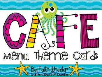 CAFE Menu Theme Cards Ocean - Faith Wheeler - Freebie-TeachersPayTeachers.com