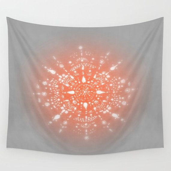 coral grey mandala wall tapestry pink grey tapestry by lake1221 wall tapestries pinterest. Black Bedroom Furniture Sets. Home Design Ideas