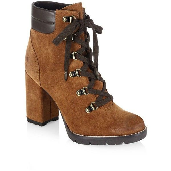 Sam Edelman Carolena Suede Combat Booties (195 CAD) ❤ liked on Polyvore  featuring shoes
